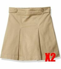 Lot of 2Amazon Essentials Girl's Uniform Pleated Skort Khaki Size 6-7Small Slim