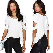 Women's Sexy Back Cross Short Sleeve T-Shirt Casual Chiffon Blouse Tops Hot  New