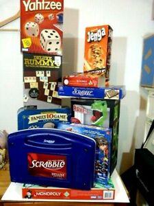 Large lot 18 x board games: Scrabble, Monopoly, Jenga, Rummy, Yahtzee