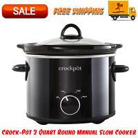 Crock-Pot 2 Quart Round Manual Slow Cooker, Black, Stoneware, Kitchen Cookware