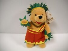 Disney Store Honolulu Hawaiian Winnie The Pooh Bean Bag Plush NWT Rare VHTF