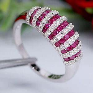 NATURAL HEATED RED RUBY & WHITE UNHEATED TOPAZ RING 925 STERLING SILVER