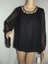 JOHN PAUL RICHARD Large BLACK SPAGHETTI SCOOP NECK BLOUSON BLOUSE shirt top l
