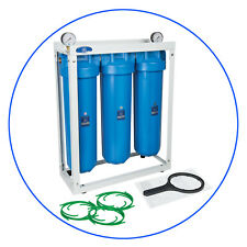 "3 Stage Big Blue 20"" with 2 x gauge Whole House water filter System 1"" ,20""x4,5"""