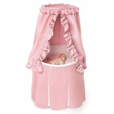 Pink Baby Bassinet Round Cradle Canopy Cover Crib Skirted Nursery Infant Bed