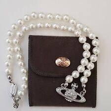 Vivienne Westwood Mini Bas Relief Perlen Halsband Halskette mit Sliver Orbit