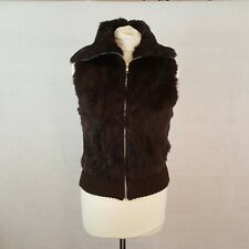 MOR Womens Real Fur Gillet Waistcoat Jacket Brown Size M Zip Up Soft Silk Lining
