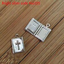 10x BOOK LOCKETS 13x11mm Bright Silver - Code 66199