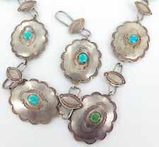VINTAGE NAVAJO ZUNI STERLING SILVER & TURQUOISE CONCHO BELT. 104 GRAMS 78CMS