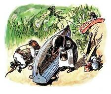 Wind in the Willows..Original Vintage Print MOUNTED..'Painting the Boat !'