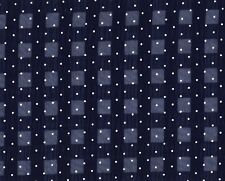 Navy / White Spotted Polyester Seersucker Fabric 115cm wide