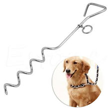 Dog Pet Metal Steel Spiral Stake Peg Tie In Out Garden Lead Strong Anchor Value