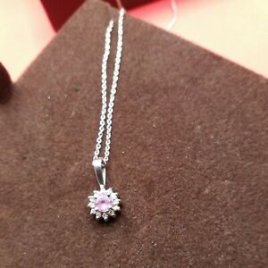 Vintage 14k White Gold Pink Sapphire Necklace