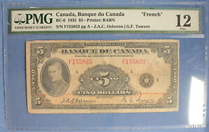 1935 - Bank of Canada - BC-5 - $ 5 - Osbourne-Towers - Graded by PMG VF-20