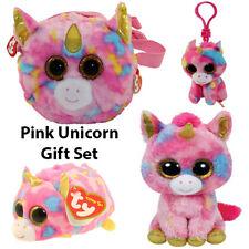 4-Piece TY Pink Unicorn Gift Set (Fantasia Purse, Boo & Key Clip/Star Teeny TY)