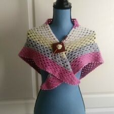 Vintage Granny Square Stitch Triangular Shawl Pink White and Gray