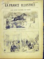 Original Old Antique Print Palace Industrial Exhibition Paris French 1882 19th