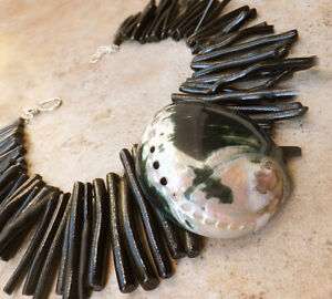 Blister Pearl Shell Pendant GENUINE CORAL black NECKLACE Natural OCEAN JEWELRY