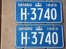 ONTARIO LICENSE PLATE 1965 H 3740 SET PAIR VINTAGE CAR SHOW COLLECTOR CROWN