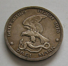 PRUSSIA-WILHELM II SILVER 3 MARK 1913 -100 DEFEAT OF NAPOLEON-KM # 534 -GOOD X.F