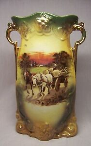 L & Sons Ltd Porcelain Vase Hanley England w/ Gold Trim and Farm Scene.