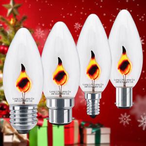 CHRISTMAS CELEBRATION Lamps 3W FLICKER FLAME Candle Light Bulb B22 B15 E14 E27