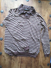 MENS PETER WERTH JUMPER SHIRT COMBO BROWN STRIPES SIZE 3 UK SIZE MEDIUM