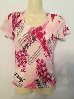 ladies fashion print top/t-shirt, pink designer style NEW, S/M/L 8/10/12/14