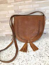 Lucky Brand Cognac Brown Leather Crossbody tassel Bag