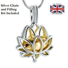 Lotus Flower Cremation Ashes Necklace Jewellery Keepsake Memorial Urn Pendant