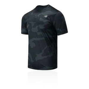 New Balance Mens Printed Accelerate Running T Shirt Tee Top Black Sports