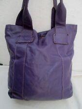 Joli grand sac à main cabas shopping mauve cuir vintage bag