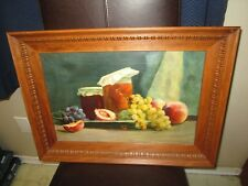 Vintage Original Oil Painting Still Life Grapes Jam Jar