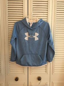 Under Armour Cold Gear Loose Blue Pullover Hoodie Youth Size Large YLG