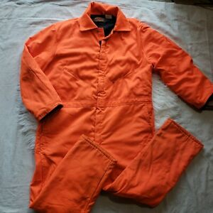"""WALLS """"BLIZZARD-PRUF"""" Orange Insulated Coveralls Size X-LARGE 46-48 Vintage Rare"""