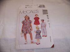 OOP McCALLS 8117 091 Girls Tops Pants Shorts & Skirt PATTERN 4-5-6 UNCUT