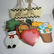 WELCOME WALL PLAQUE Lillian Vernon 4 Seasons HANGING Ornaments Flag Snowman TREE