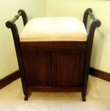 Antique Vanity Piano Upholstered Storage Seat