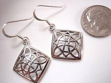 Celtic Square Circle & Semi Circle Design Dangle Earrings 925 Sterling Silver