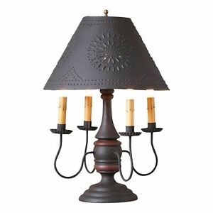 COUNTRY PRIMITIVE FARMHOUSE JAMESTOWN TABLE LAMP W/ METAL SHADE ~ BLACK & RED