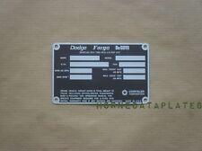 DODGE FARGO DeSoto POWER WAGON TRUCKS 1972 1973  DATA PLATE M601 ID TAG