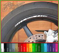 8 x YAMAHA wheel rim decals - Choice of colour - yzf R6 R1 R125 MT09 MT10 MT07