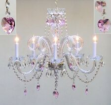 "Chandelier Lighting With Pink Crystal Hearts H25"" X W24"""