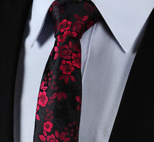 Rose Black & Red Design Floral Paisley Wedding Tie Silk