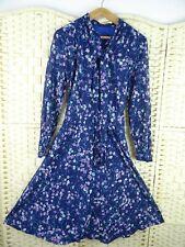 VINTAGE hand made poly/cotton? sheer shirt waist ditsy floral boho dress M/L