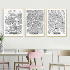 Rotterdam New York London Capital City Map Wall Art Poster Canvas Print Picture