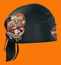 Harley Davidson Mens Live To Ride Eagle with B&S Sublimated Black Headwrap