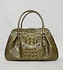 NWT Brahmin Laura Satchel/Shoulder Bag in Pewter Melbourne Croc Embossed Leather
