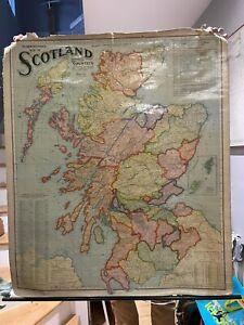 Antique Scarborough's Linen Map Of Scotland