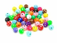 100PCSX8MM WHITE ACRYLIC ROUND BEADS WITH MULTI STAR DESIGN FOR JEWELLERY MAKING